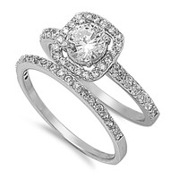 925 Sterling Silver CZ Set of 2 Halo Round Center Wedding Set Ring 6MM