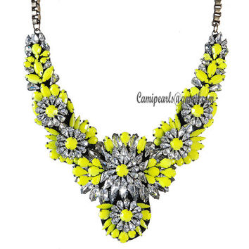 Merry Christmas Shourouk inspired Apolonia Yellow Flower Neon Jewelry Bubble Necklace, Bib Chunky Colorful Drop Stone Necklace(CN0090-Yello