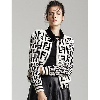 FENDI Autumn Winter Popular Women Personality Long Sleeve Half High Collar Knit Zipper Cardigan Jacket Coat