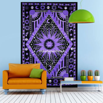 Twin wall hanging mandala psychedelic blue sun moon tapestry Indian bedding