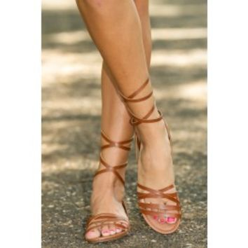 That's A Wrap Sandals-Cognac