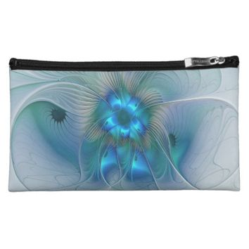 Standing Ovations, Abstract Blue Turquoise Fractal Cosmetic Bag