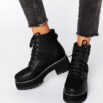 ASOS RATOR Chunky Lace Up Ankle Boots at asos.com