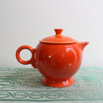 Atomic Red Art Deco Uranium Glaze Teapot Vintage Homer Laughlin Chinoiserie China American Art Pottery Circa 1930s