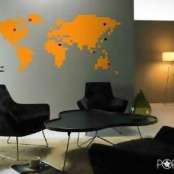 Vinyl Wall Art Decal Pixelated World Map   028 by NouWall on Etsy
