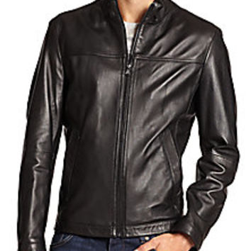 BOSS - Nilas Leather Jacket - Saks Fifth Avenue Mobile