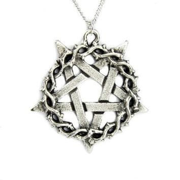 ac spbest Thorn Vine Inverted Pentagram Necklace Jewelry