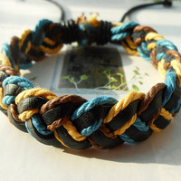Christmas Gift Winter Fashion Multilayer Colorful Braided Cotton ropes Woven Black Leather Wrap Bracelet W-48