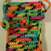 Phone caes, colorful girls phone holder, crochet  bag, phone accessories, phone accesory, iphone, galaxy phone, tote bag, gift for her