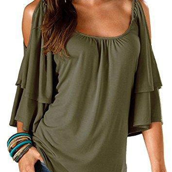Ellies Womens Summer Cold Shoulder Ruffle Sleeve Loose Stretch Tops Tunic Blouse Shirt