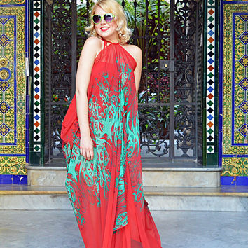 Extravagant Summer Kaftan, Red Patterned Maxi Dress, Handmade Red Chiffon Kaftan with Abstract Green Pattern TDK259, ANDALUSIA
