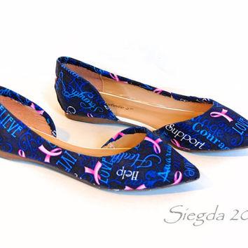 Breast Cancer Flats-for a cause-custom shoes-personalized flats
