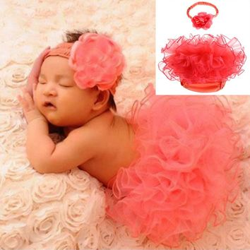 Newborn Baby Girl Tulle Tutu Skirt + Headband