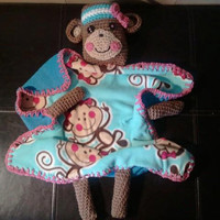 READY to SHIP  Girl Monkey Lil Buddy Blanket