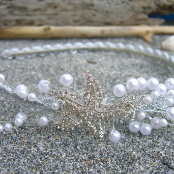 Beach Bridal Hair Crown,Starfish Headband,Beach Wedding,Destination Wedding,Nautical Hair Accessory,Mermaid Headband,Starfish Hair Accessory