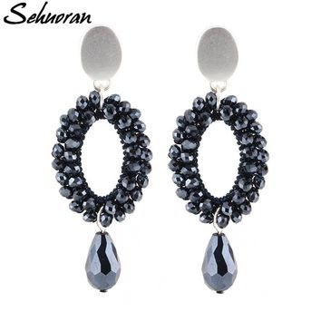 Sehuoran Drop Earrings For Women Big Earrings Long Earrings Vintage Bohemian New Designer Faceted Beads Handmade Crystal Earring