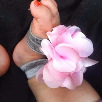 Beautiful Miss Priss Baby Barefoot Sandals with fluffy pink flower and gray band as shown.