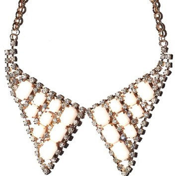 Pointed Collar Necklace White Crystal Tuxedo Bow Tie NI39 Luxury Peter Pan Chainmail Bib Fashion Jewelry