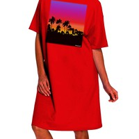 Palm Trees and Sunset Design Dark Adult Night Shirt Dress by TooLoud