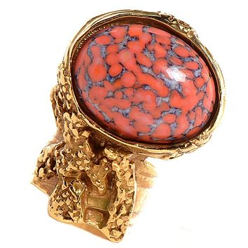 Saint Laurent YSL Women's Arty Ovale Oval Coral Gold Large Ring Size: 6 196994