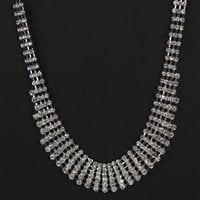 multi row silver rhinestone necklace - debshops.com