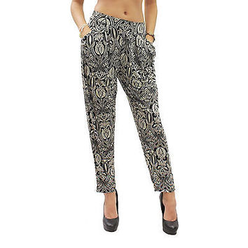 New Black Paisley Print Harem Stretch Trousers One Size (SML) Cool Baggy Pants