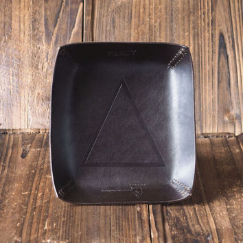 Personalized Leather Valet Tray #Dark Brown