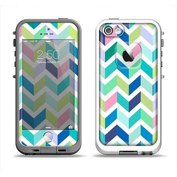 The Fun Colored Vector Segmented Chevron Pattern Apple iPhone 5-5s LifeProof Fre Case Skin Set