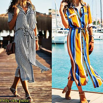 Fashion hot selling New Vertical Stripe Tie Waist Long Sleeve Shirt Dress Only one piece