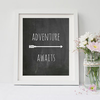 Adventure Awaits, quote print,  8 x 10 inch,  art print,  poster for bedroom, dorm room, office, or home decor