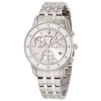 Bulova 96R165 Women's Diamond Silver Dial Steel Bracelet Chronograph Watch