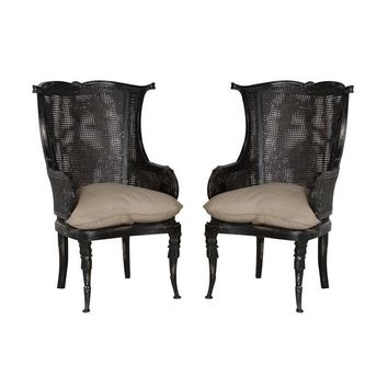 Caned Wingback Chair Black (Set of 2)