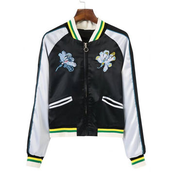 Flower Embroidery Varsity Striped Souvenir Jacket