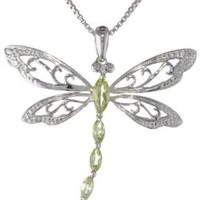 Sterling Silver Marquise-Shape Gemstone and Diamond Dragonfly Pendant Necklace (0.01 cttw, I-J Color, I1-I2 Clarity)