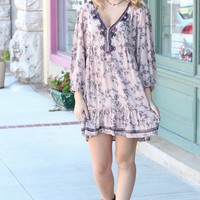 Floral + Embroidery V-neck Peasant Tunic Dress {Taupe/Blush Mix}