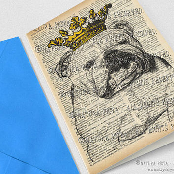 English bulldog crowned Greeting Card with envelope-4x6 inch-Stationery card-Invitation card-Funny dog card-Design by NATURA PICTA NPGC072