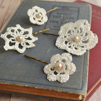 Lace hair accessories, wedding bobby pins, bridal hair pins, crochet and pearls - attic treasures