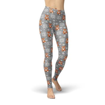 Foxs and Snowflakes Leggings