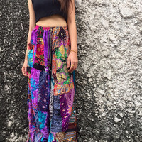 Patchwork Palazzo Pants Gypsy Hippies Boho Bohemian style Festival Colorful fashion Clothing Harem pants Beach Trousers Wild Legs pants Gift