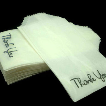 Thank You Mini Flat Glassine Bags, Size 2 X 3.5 inches - Handstamped - Qty 40 count
