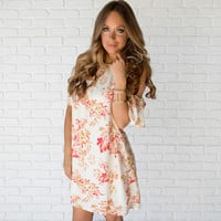 Cascading Open Shoulder Print Shift Dress