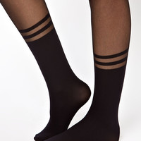 ASOS Tights With 2 Stripe Mock Ankle Sock