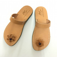 woman leather slippers - natural leather sandals for wedding - summer shoes woman