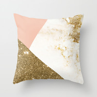 Gold marble collage Throw Pillow by Cafelab