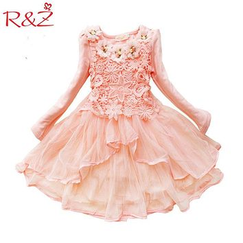 R&Z 2017 Flower Girl Dress Princess Tutu Party Gift Wedding Veil Flower Girl Dress Children Clothing Dress Macarons Candy Colors