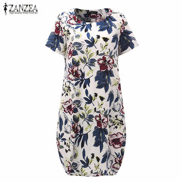 Hot Sale 2017 Floral Print  Short Sleeve Loose Casual Midi Dress