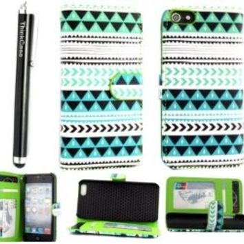 ThinkCase Tribal Design PU leather Wallet PU Leather Case Card Holder Flip Case Cover for iPhone 4S Colorful Blue Green with ThinkCase Stylus Pen