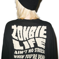 Lazy Oaf Zombie Long Sleeve Tee Black