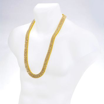 """Jewelry Kay style Men's Fashion Iced Out 4 mm 4 Layer Round Stone RH Tennis Chain Necklace 30"""""""