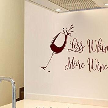 Less Whine. More Wine Vinyl Wall Words Decal Sticker Graphic